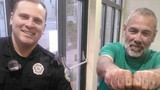Police officer poses for photo with man with 'Cops Suck' tattoo