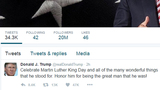 Trump tweets MLK salute, will meet with son
