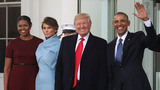 Obamas welcome the Trumps to the White House